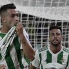 Sergio León se celebra su primer gol con el Betis (Foto: Juan Flores)