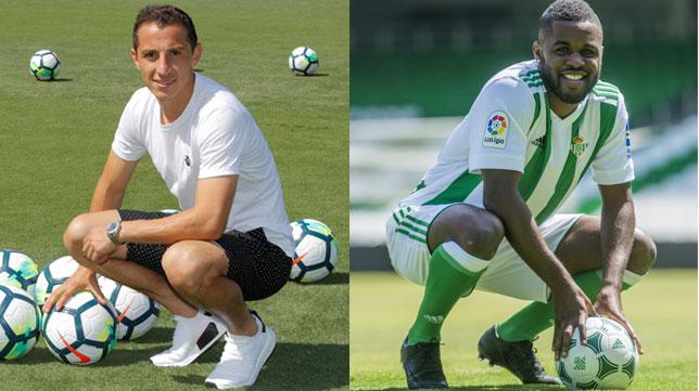 Guardado y Campbell (Fotos: Raúl Doblado / EFE).