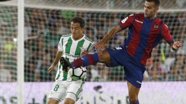 Guardado y Róber Pier disputan un balón en el Betis-Levante jugado en Heliópolis (Foto: EFE)