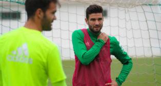 Barragán, en un entrenamiento del Betis. Foto: RBB