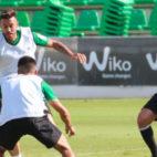 Ryad Boudebouz, en el entrenamiento de este lunes (Foto: RBB)