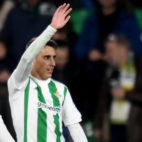Tello celebra uno de los goles que le marcó al Cádiz en la Copa del Rey