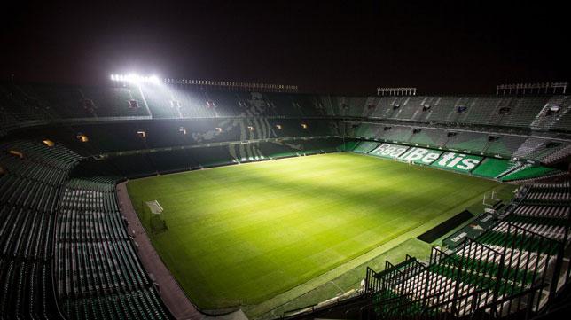 Imagen de las pruebas del espectáculo lumínico durante esta semana (Foto: Real Betis).