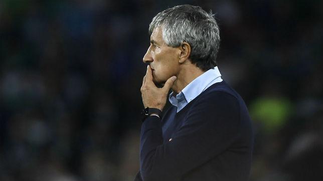 Quique Setién, durante el partido ante el Getafe (Foto: J. M. Serrano)