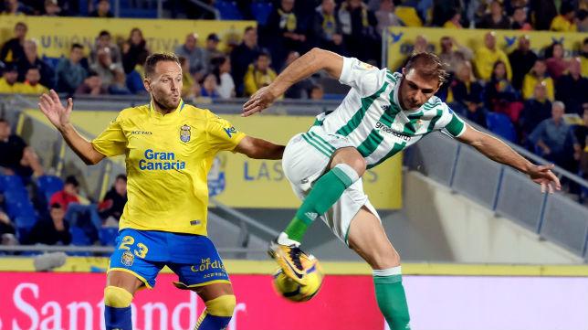 Joaquín toca un balón de tacón ante un jugador de Las Palmas (Foto: EFE)