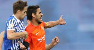 José Recio, en el partido del Málaga en Anoeta frente a la Real Sociedad (Foto: EFE)