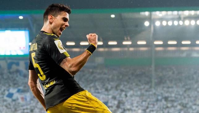 Marc Bartra, en un partido con el Borussia Dortmund (BVB)