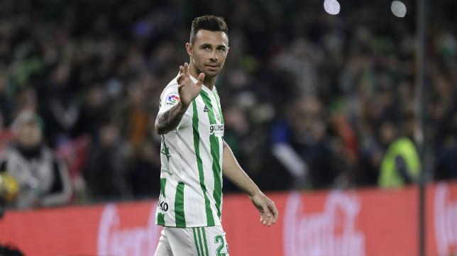 Rubén Castro, tras marcar su gol en el Betis-Leganés