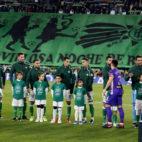 El tifo con el que el Villamarín recibió a sus jugadores ante el Leganés (Foto: J. M. Serrano).