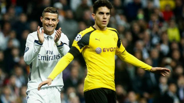 Bartra y Cristiano, en el Madrid-Dortmund de 2016 (Foto: Óscar del Pozo)