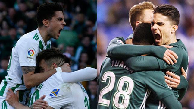 A la izquierda, Bartra celebra el 1-0 ante el Villarreal; a la derecha, el 0-1 ante el Deportivo (Fotos: Real Betis).