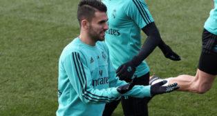 Ceballos, en un entrenamiento del Real Madrid (EFE)