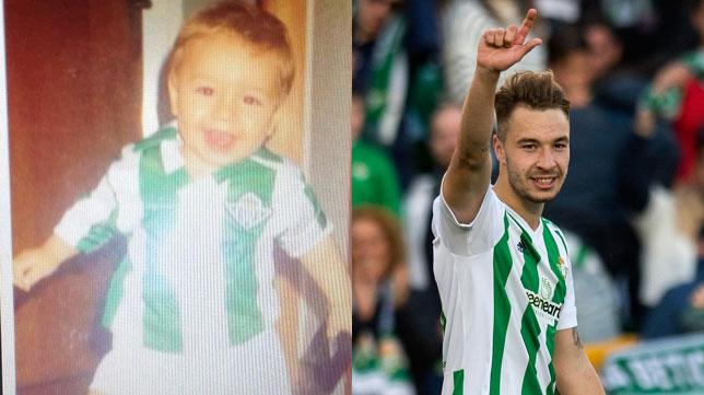 A la izquierda, Loren con un año; a la derecha, tras su primer gol con el Betis (Fotos: ABC / Juan José Úbeda).