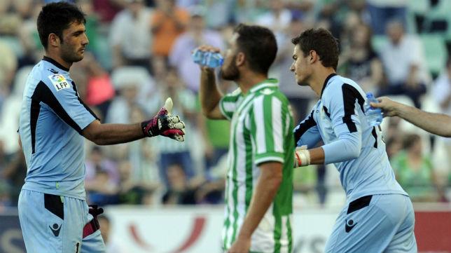 Pedro entra en lugar de Adán en el Betis-Valladolid de 2014 (Foto: J. J. Úbeda)