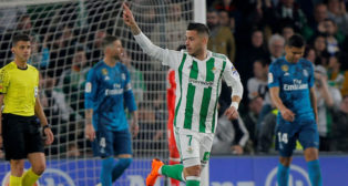 Sergio León celebra el gol que le marcó al Real Madrid (Foto: REUTERS)