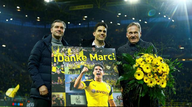 Marc Bartra, en su homenaje con el Borussia Dortmund (REUTERS)
