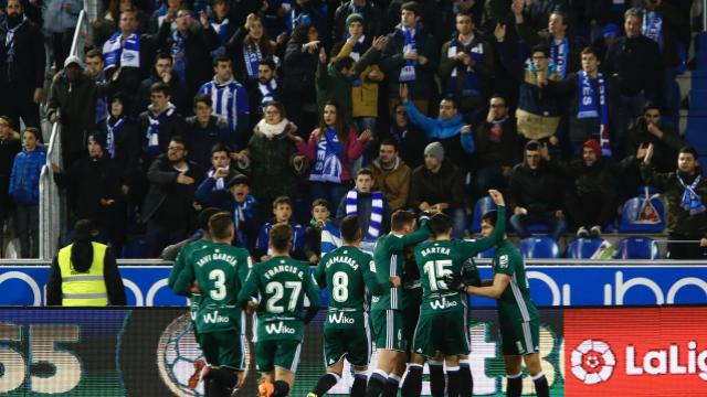 Celebración del tanto del Betis ante el Alavés el pasado lunes. Foto: LaLiga
