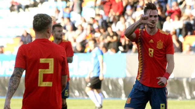 Fabián celebra su golazo a Estonia (EFE)