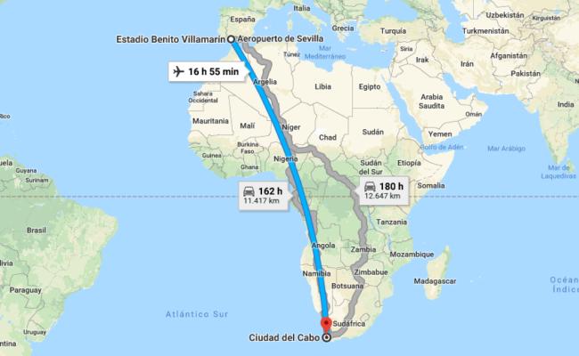 Mapa con la distancia desde el Benito Villamarín hasta la ciudad sudafricana de Ciudad del Cabo