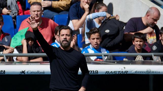 Quique Sánchez Flores, durante el Espanyol-Real Sociedad (Foto: EFE)