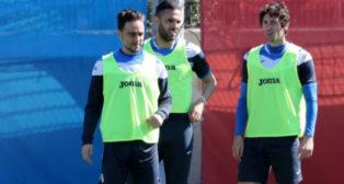 Sergio García, en el último entrenamiento del Espanyol antes de viajar a Sevilla (Foto: RCD Espanyol)