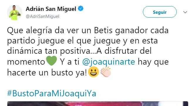El mensaje de Adrián tras el triunfo del Betis