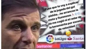 Parte del tweet de Adrián sobre la gran jugada de Joaquín ante el Girona