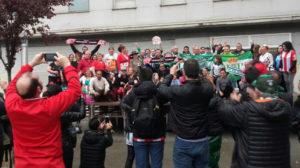 Aficionados del Betis y del Girona en la Fan-Zone de hermanamiento previa al encuentro