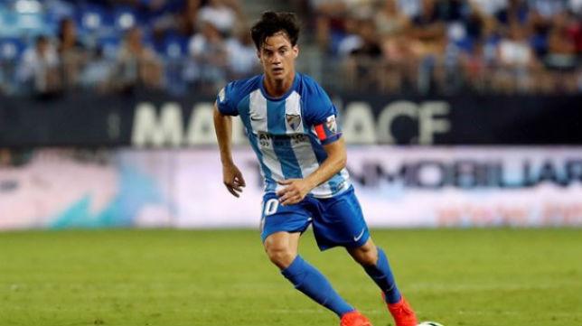 Juanpi Añor, en un partido del Málaga de esta temporada (Foto: malagacf.com)