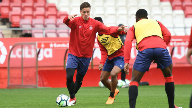 Jugadores del Girona durante un entrenamiento (GCF)