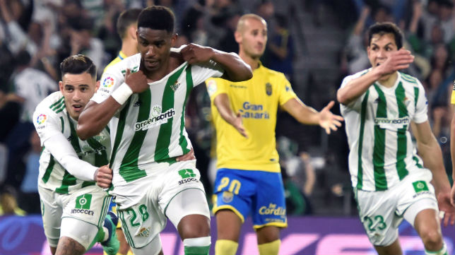 Junior celebra el gol logrado ante Las Palmas (Foto: EFE)