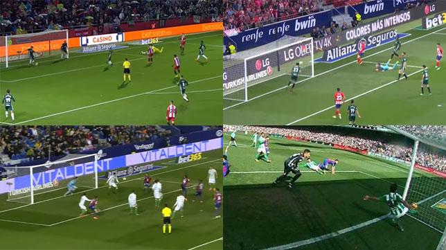 Mandi, en las acciones en las que salvó goles ante Girona, Atlético, Levante y Barcelona