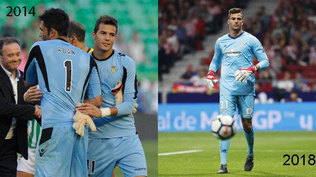 A la izquierda, Pedro el día de su debut en 2014 sustituyendo a Adán; a la derecha, el pasado domingo en el Wanda Metropolitano (Fotos: Juan José Úbeda / Real Betis).