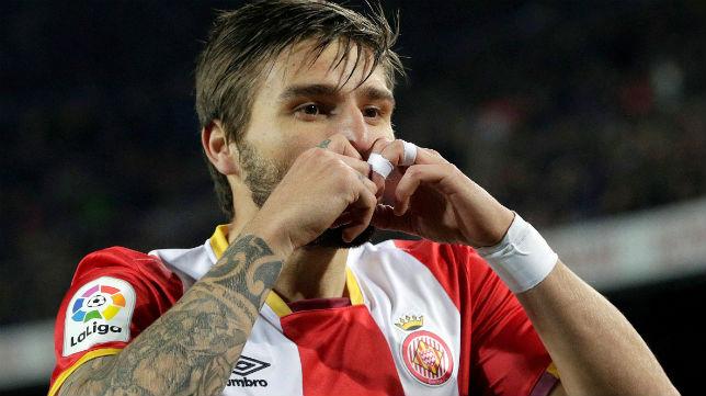 El futbolista del Girona Portu celebra un gol (Foto: EFE)