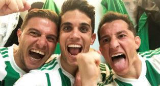 Joaquín, Bartra y Guardado, celebran el triunfo ante Las Palmas (Foto: @MarcBartra)