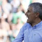 Quique Setién, durante el Betis-Sevilla (foto: EFE)