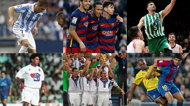 El Málaga con las calzonas blancas, el Barcelona con pantalón rojo, el Betis Energía Plus con verde, el Valencia con parte inferior blanca, Alemania completamente de blanco y el Villarreal con calzón azul