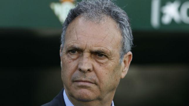 Joaquín Caparrós, en el derbi disputado en el Benito Villamarín (Foto: Raúl Doblado)