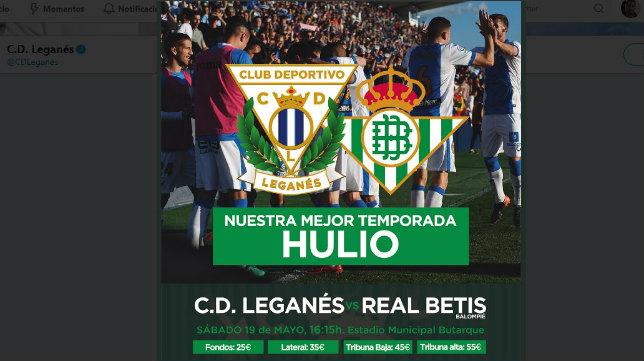 Cartel del Leganés-Betis elaborado por los pepineros