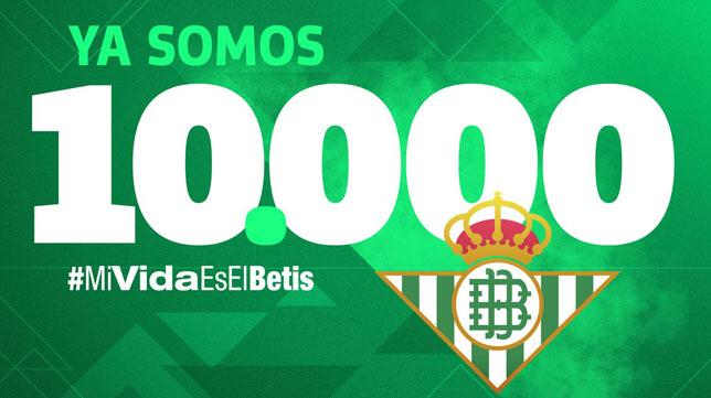 El Betis alcanza los 10.000 abonados