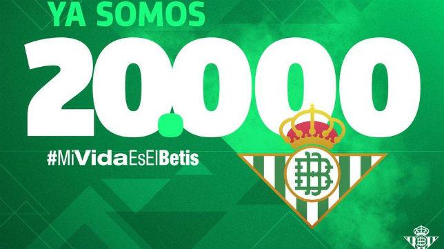 El Betis supera los 20.000 abonados (RBB)