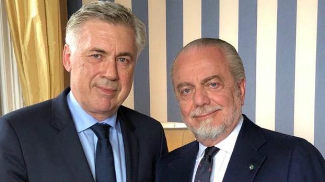 Ancelotti y De Laurentiis, entrenador y presidente del Nápoles, respectivamente