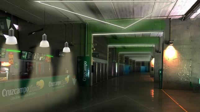 Reproducción del pionero sistema de iluminación del Betis para el Gol Sur del Villamarín (Foto: RBB)