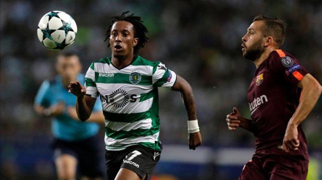 Gelson Martins, en un Sporting-Barça. Foto: AFP