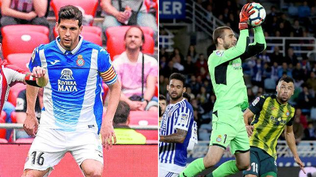 A la izquierda, Javi López en un partido de la pasada temporada ante el Athletic. A la derecha, Pau López atrapa un balón ante la Real Sociedad