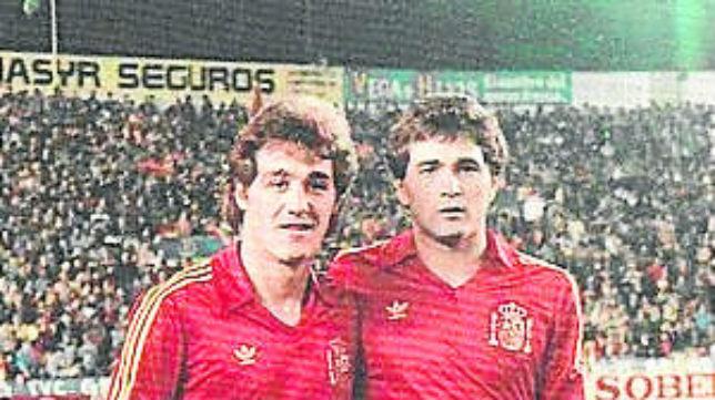 Rincón y Gordillo, dos de los futbolistas del Betis con más internacionalidades con España