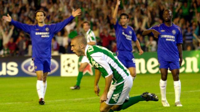 Dani celebra el tanto de la victoria en el Betis- Chelsea