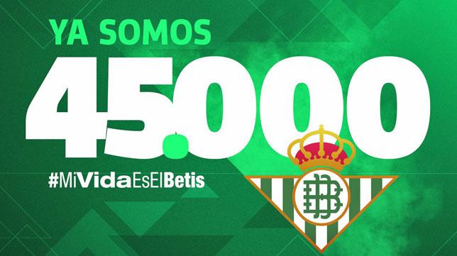 Imagen publicada por el Real Betis respecto a los 45.000 abonados (foto: RBB)