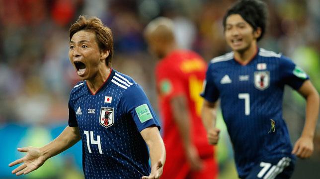 Takashi Inui celebra su gol ante Bélgica (Foto: AFP).