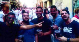 Los cinco amigos de «La Manada», durante la tarde del 6 de julio de 2016